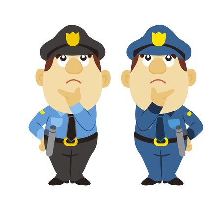 think up: funny cartoon policeman is thinking