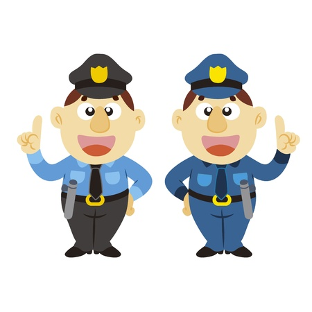 commentary: commentary by a funny cartoon policeman, two colors