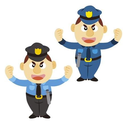 gorra policía: policía divertido de la historieta, dos colores Vectores