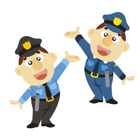 commentary: a commentary gesture by a cartoon policeman  Illustration