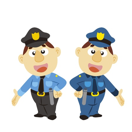 a commentary gesture by a cartoon policeman Stock Vector - 17274786
