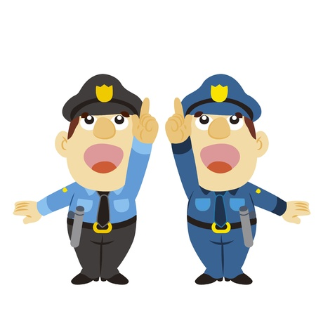 traffic police: be noted up gesture by a cartoon policeman