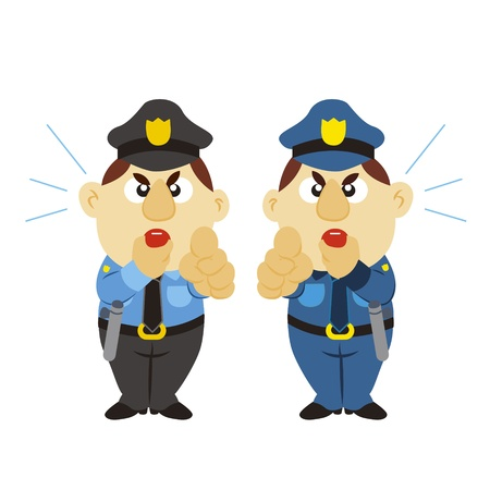 a cartoon policeman blow the whistle Vector
