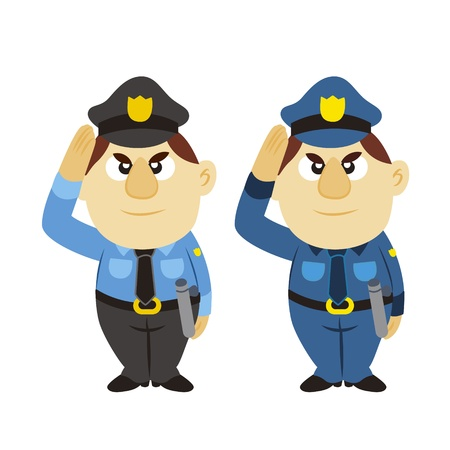 funny cartoon policeman, two colors Stock Vector - 17274726
