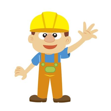 a cartoon builder in yellow helmet