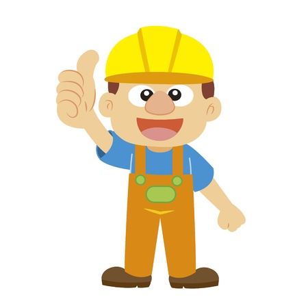 commend: a builder in yellow helmet thumbs up Illustration
