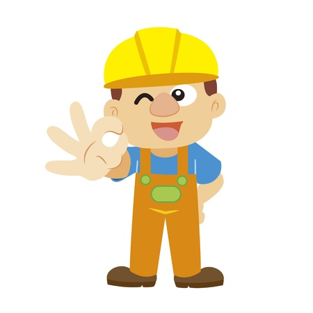 a builder in yellow helmet Vector