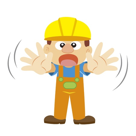 warning gesture by a builder in yellow helmet with white background Vector