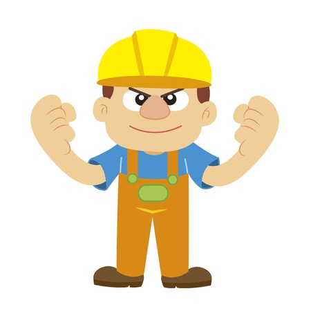 cheer gesture by a builder in yellow helmet with white background Vector