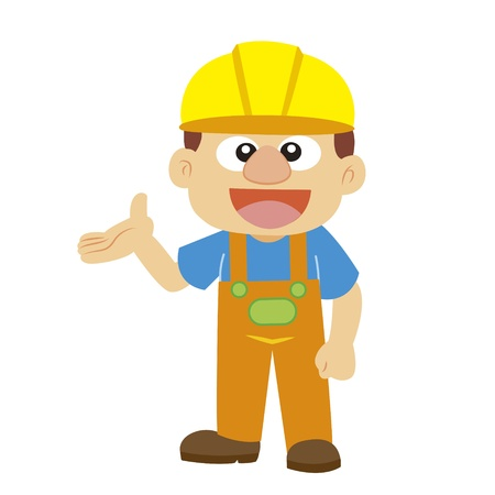 a builder in yellow helmet with white background Vector