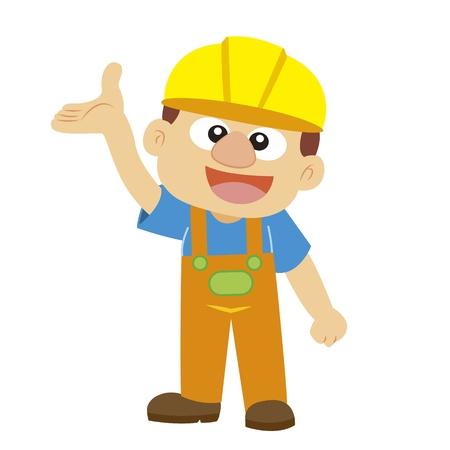 commentary: comentario gesto por un constructor en casco amarillo con fondo blanco Vectores