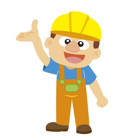commentary: commentary gesture by a builder in yellow helmet with white background
