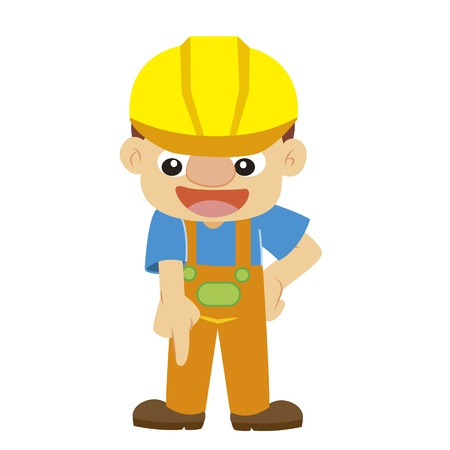 commentary: a builder in yellow helmet with white background