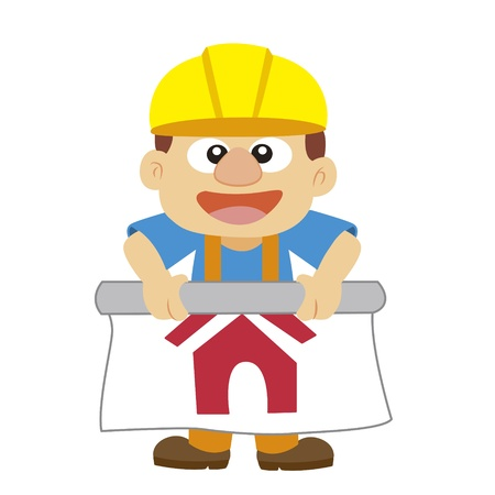 a builder in yellow helmet with his working drawing Vector