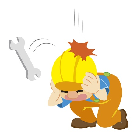 a builder in yellow helmet avoid dropping wrench Vector