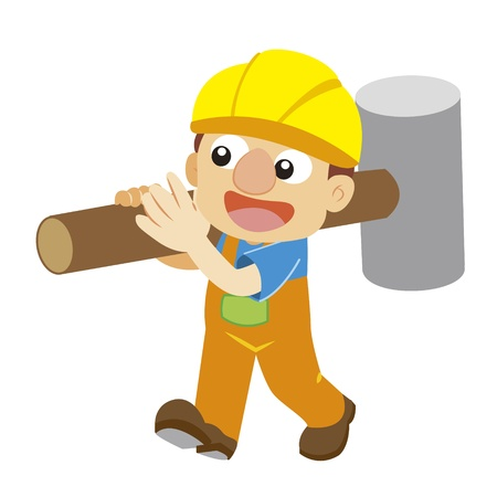 a builder in yellow helmet carries a big hammer Stock Vector - 17274735