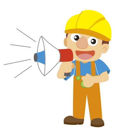 a builder in yellow helmet uses a speaker Vector