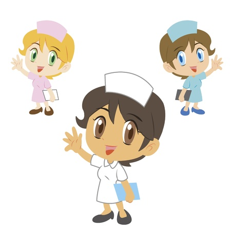 greet: three cute cartoon nurses