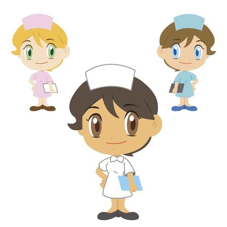 kid doctor: three cute cartoon nurses
