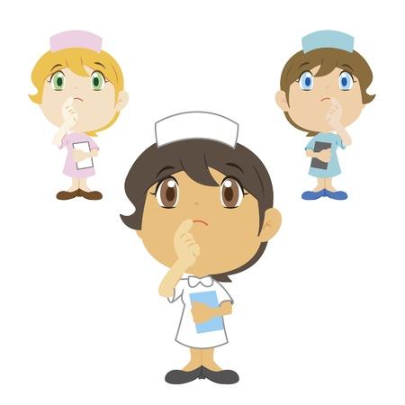 medical attention: una enfermera de la historieta est� pensando