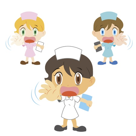 exclude: nurse with a denial of action, three colors Illustration