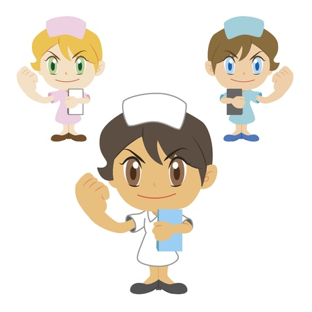 Commentary by a cartoon nurse, three colors Vector