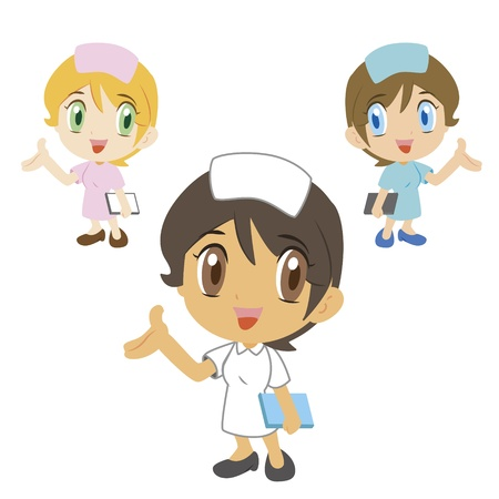 commentary: comentario de una enfermera de dibujos animados, tres colores Vectores