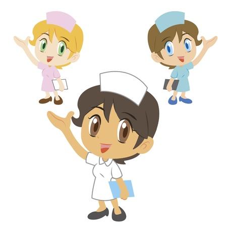 hospital cartoon: commento di un infermiere carino, tre colori Vettoriali