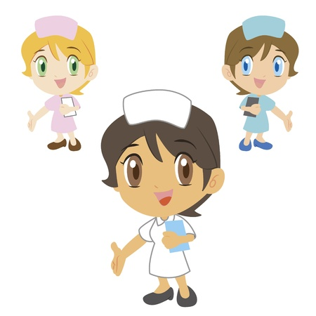 see a doctor: a cartoon nurse refers to the lower left, three colors Illustration