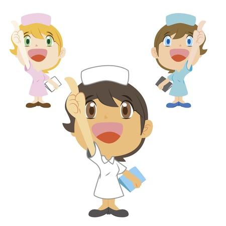 sick people: cartoon nurse refers to the top, three colors Illustration