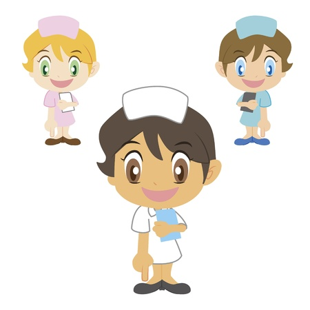 cartoon nurse refers to the bottom, three colors Vector