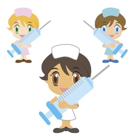 infirmi�re seringue: une infirmi�re de bande dessin�e avec une seringue, trois couleurs