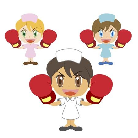 medical attention: una enfermera lindo criar a sus guantes de boxeo, tres colores Vectores