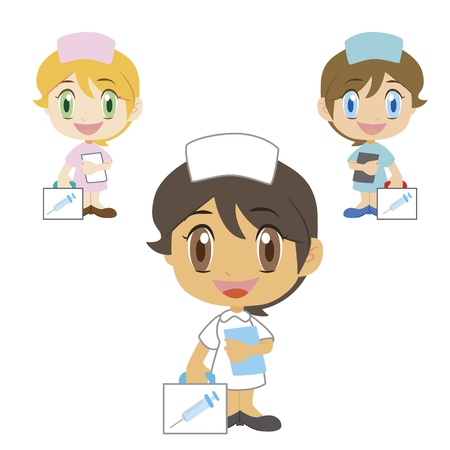 a cartoon doctor with a first aid kit, three colors Vector