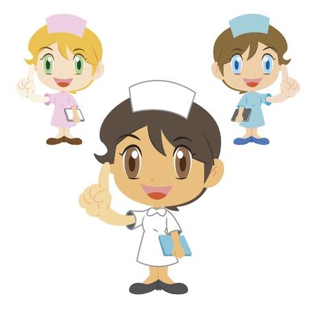 commentary: comentario de una enfermera lindo, tres colores Vectores