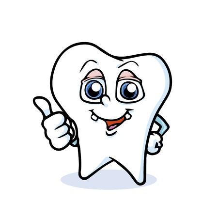 commend: Cartoon tooth thumbs up