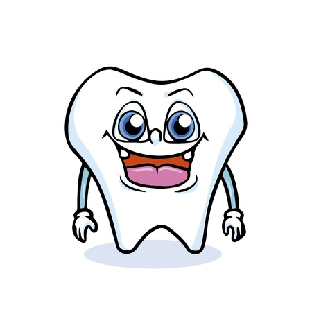 cartoon tooth is laughing with white background Stock Vector - 17457412