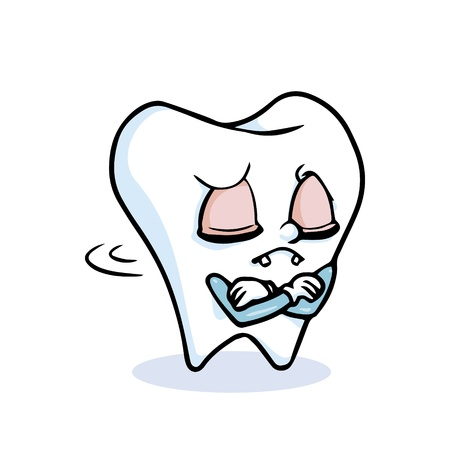 no teeth smile: funny cartoon tooth ,vector Illustration