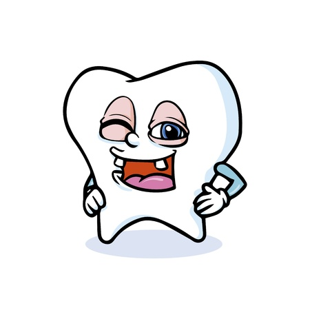 funny cartoon tooth ,vector Vector