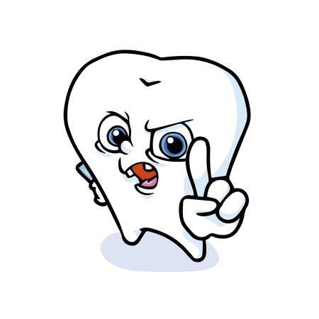 cavity: funny cartoon tooth ,vector Illustration