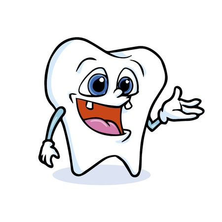 cartoon tooth presenting with his hand Vector