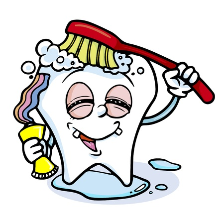 toothpaste: illustration of tooth character with red brush