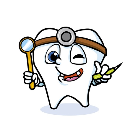 floss: funny cartoon tooth doctor,vector Illustration