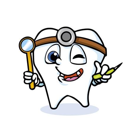 doctor vector: funny cartoon tooth doctor,vector Illustration