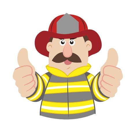 commend: an illustration of cartoon fireman