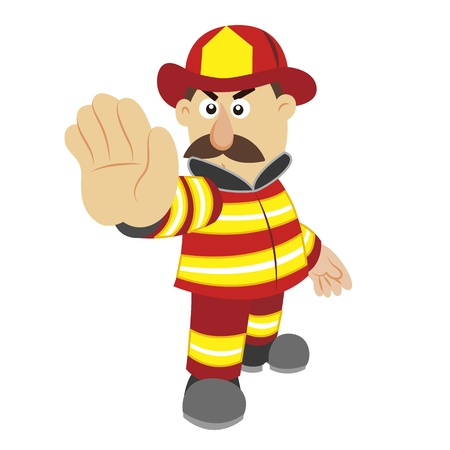 an illustration of cartoon fireman  Vector