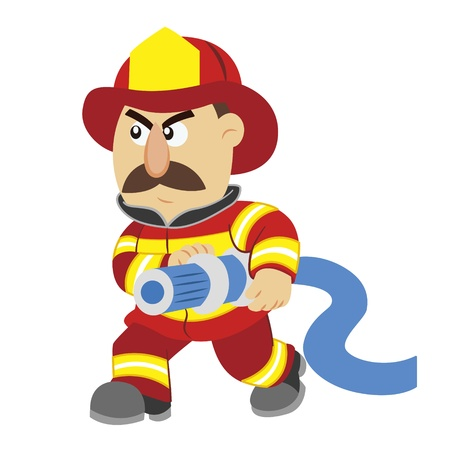 an illustration of cartoon fireman