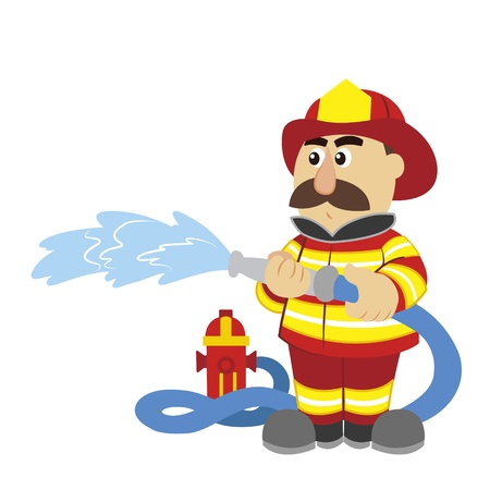 water hoses: an illustration of cartoon fireman