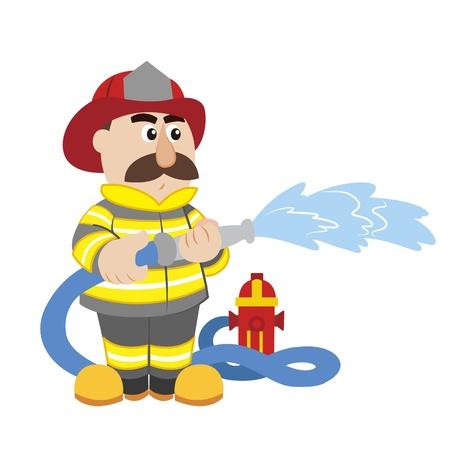 water hoses: an illustration of cartoon fireman