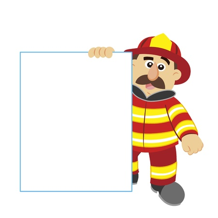 hoses: an illustration of cartoon fireman